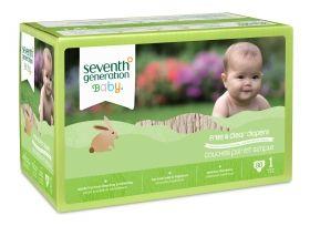 Seventh generation - Еко пелени за еднократна употреба, размер 1 - 4-6 кг., Jumbo кутия с 80 бр.